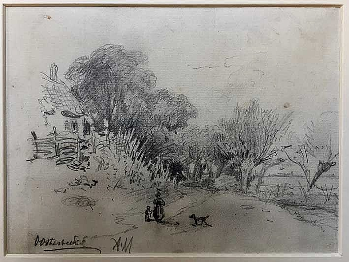 MAUVE, Anthonij ('Anton') (1838-1888). 'Oosterbeek'. Drawing in pencil on p