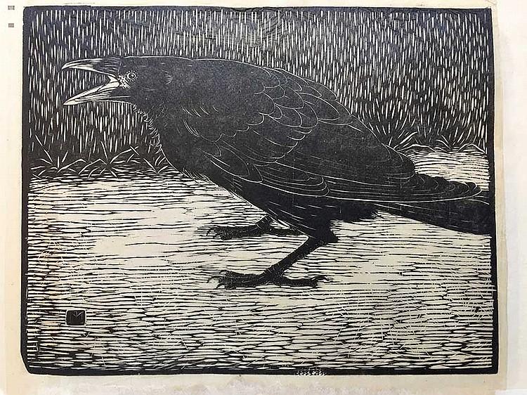 MANKES, Jan. 'Schreeuwende kraai, staand naar links'. (1919). Woodcut on ri