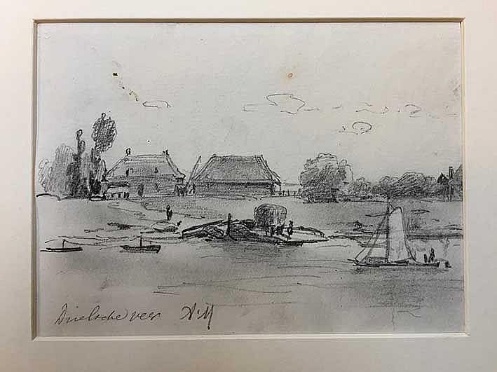 MAUVE, Anthonij ('Anton') (1838-1888). 'Drielsche veer'. Drawing in pencil