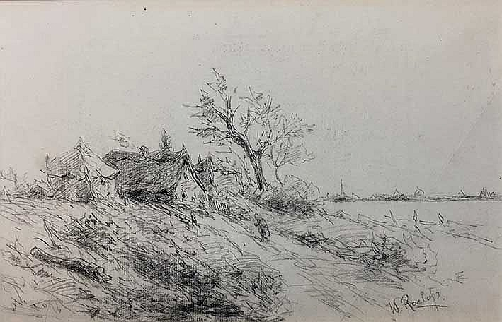 ROELOFS, Willem (1822-1897). Cottage between two haystacks on dike, figure
