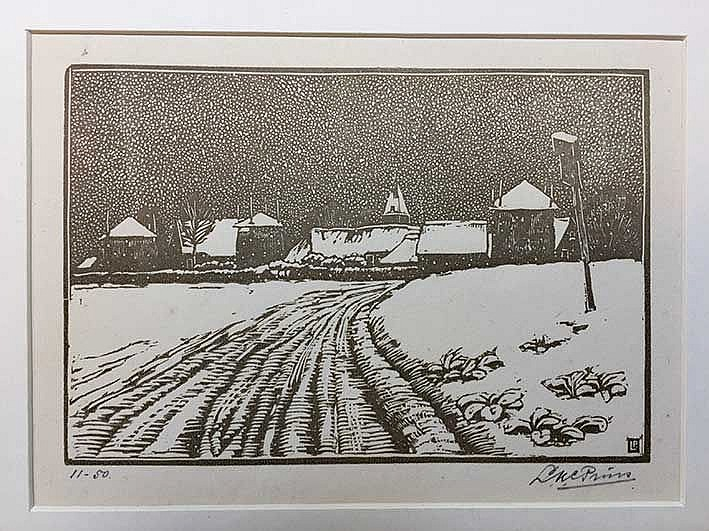 PRINS, Leendert Klaas Cornelis (1887-1957). Blaricum in winter. N.d. Tinted