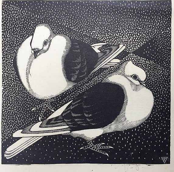 VERINGA, Johannes ('Jan') (1909-1982). Fancy pigeons. N.d. Woodcut on Japan