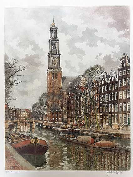 ROODENBURG, Hendrikus Elias (1895-1987). View on the Westertoren/Prinsengra