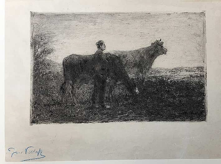 VROLIJK, Johannes Martinus ('Jan') (1845-1894). Farmer with cows. N.d. Etch