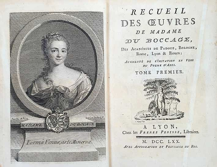 BOCCAGE, (M.A. Le Page du). Recueil des œuvres. Augm. de l'imitation en ver