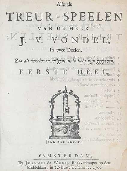 VONDEL, J. v. (Werken). Amst., etc., (1636-1768). 10 vols. W. num. (text-)e