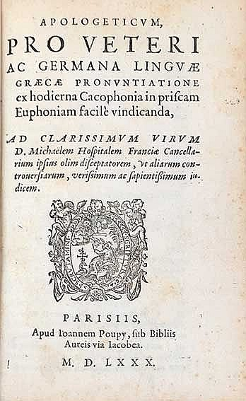 (ESTIENNE (Stephanus), H.). Apologeticum pro veteri ac germana linguae grae