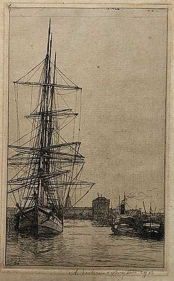 DERKZEN v. ANGEREN, Anthonius Philippus ('Antoon') (1878-191). Harbour scen