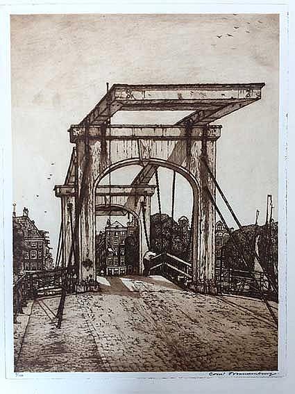 BRANDENBURG, Cornelis (1884-1954). 'Nieuwe Spiegelgracht met sneeuw'. 1913.