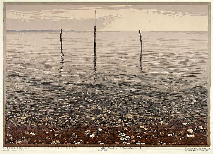 DIJKSTRA, Siemen (1968). 'Another grey day'. 2011. Cold. woodcut. 286 x 410