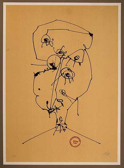 SAURA, ANTONIO & LUCEBERT. Vier maskers bij zelfportretten van Antonio Saur
