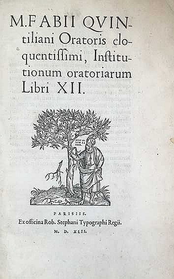 QUINTILIANUS. Institutionum oratoriarum ll. XI. Par., R. Stephanus (Estienn