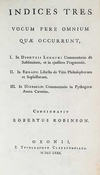 ROBINSON, R. Indices tres vocum fere omnium quæ occurrunt, I. In Dionysii L