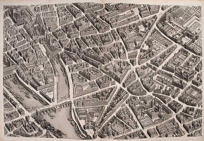 FRANCE -- PARIS -- BRETEZ, L. Plan de Paris commencé l'Année 1734. Dessiné