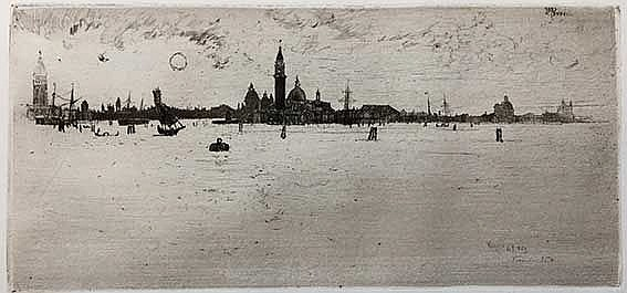 PENNELL, Joseph (1858-1928). 'Venice from the sea'. 1883. Etching on wove p