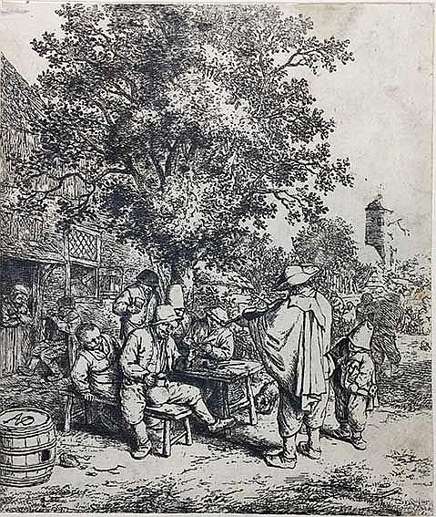 OSTADE, Adriaen Jansz. v. (1610-1685). Fiddler outside inn. 18th c. paper.