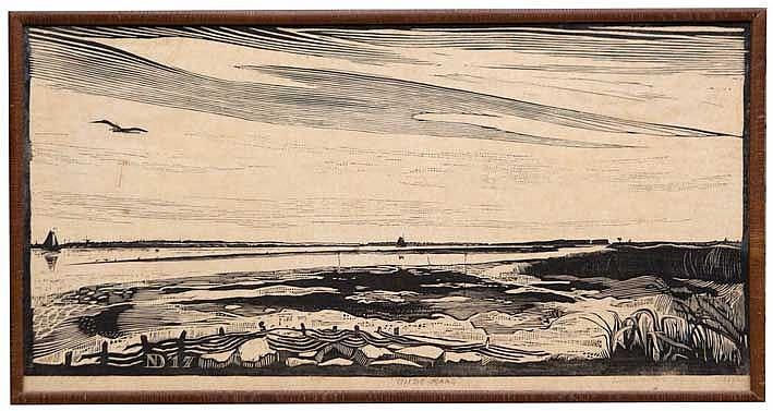 NIJLAND, Dirk Hidde ('Dirk') (1881-1955). 'Oude Maas'. 1917. Woodcut on Jap
