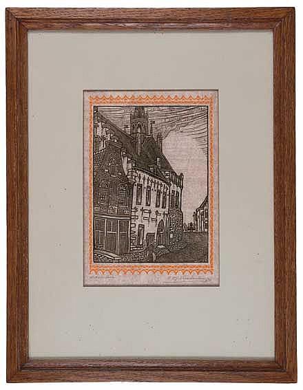 NIEUWENKAMP, Wijnand Otto Jan (1874-1950). 'Stadhuis te Schoonhoven'. N.d.