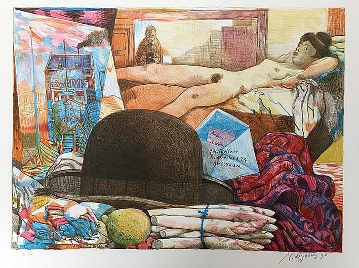 WIJNBERG, Nicolaas (1918-2006). 'De hoed van Breitner'. 1990. Cold. lithogr