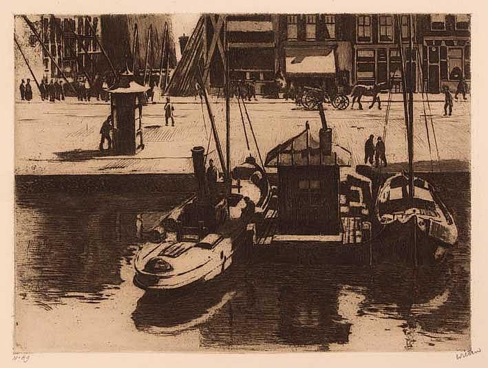 WITSEN, Willem Arnold ('Willem') (1860-1923). 'Damrak met gezicht op een st