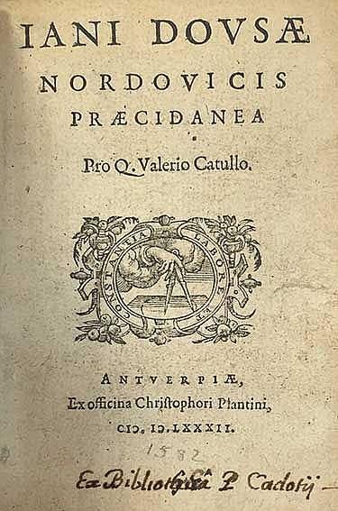 DOUSA, J. Præcidanea pro Q. Valerio Catullo. - Præcidanea pro Albio Tibullo