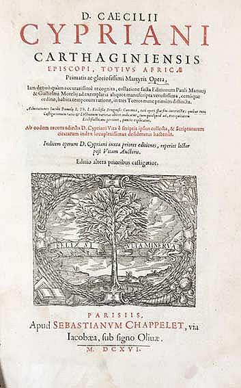 CYPRIANUS. Opera. Iam denuo quam accur. rec., coll. facta ed. P. Manutii