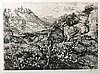 GELDER, Dirk van (1907-1990). 'Berglandschap, Toscane'. N.d. Etching. 183 x
