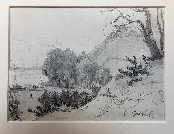 GABRIËL, Paul Joseph Constantin (1828-1903). River with hilly bank, boat an