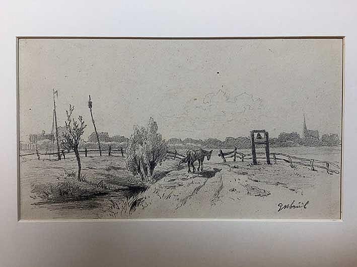 GABRIËL, Paul Joseph Constantin (1828-1903). Horse standing near a bell at