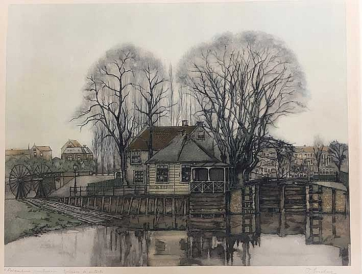 EVERBAG, Frans (1877-1947). 'Polderhuis Amsterdam'. N.d. (c. 1925). Etching