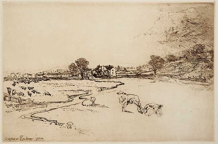 HADEN, Francis Seymour (1818-1910). 'Sawley Abbey'. 1873. Etching on zinc p