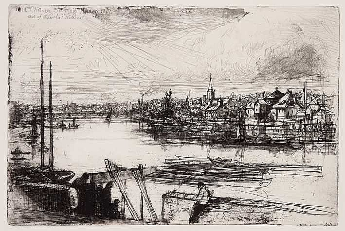 HADEN, Francis Seymour (1818-1910). 'Battersea reach'. 1863. Etching and dr