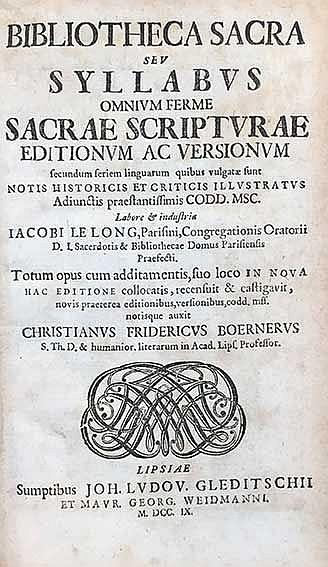 LE LONG, J. Bibliotheca sacra, seu syllabus omnium ferme sacrae scripturae