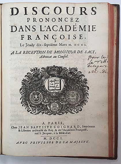 ACADÉMIE FRANÇAISE -- BIGNON, (J.P.). Discours prononcé dans l'Académie Fra