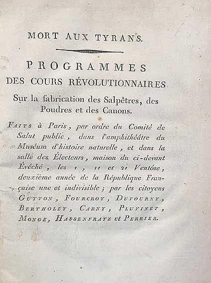 FOURCROY, (e.a.). Mort aux Tyrans. Programmes des cours révolutionnaires su