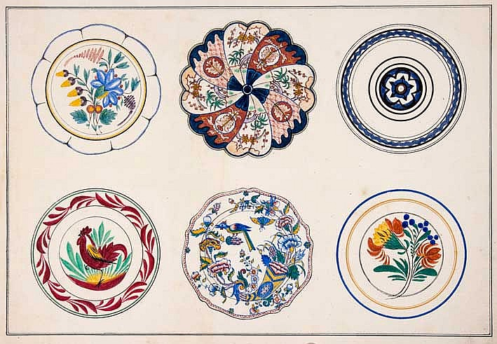 CERAMICS -- (THOME, P.) (Watercolours, patterns for pottery dishes). (N.pl.