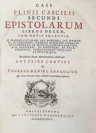 PLINIUS SECUNDUS. Epistolarum libri X. Rec. suisque animadv. illustr. G. Co