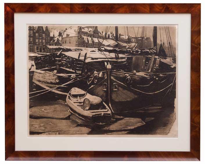 WITSEN, Willem Arnold ('Willem') (1860-1923). 'Turfschepen in de Oude Schan