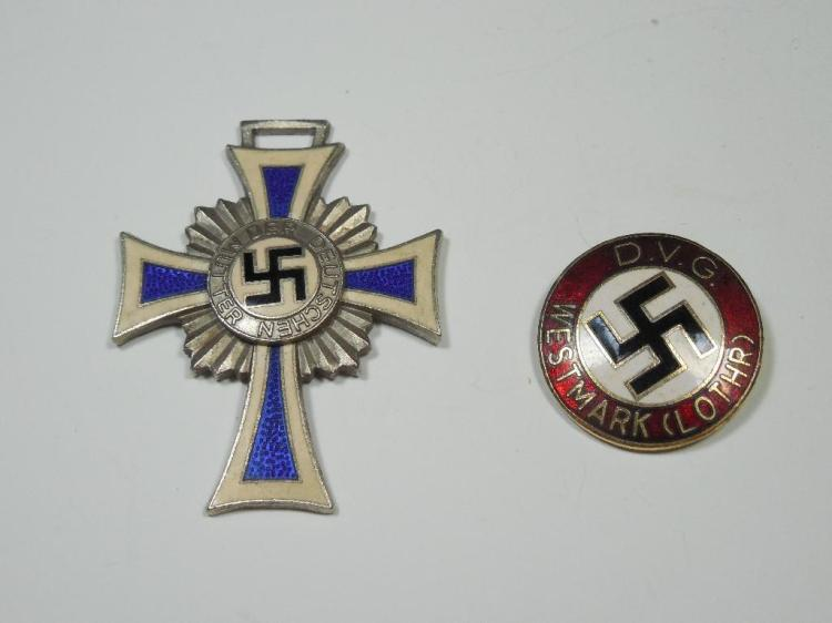 WWII Nazi German Mother's Cross, Party Pin