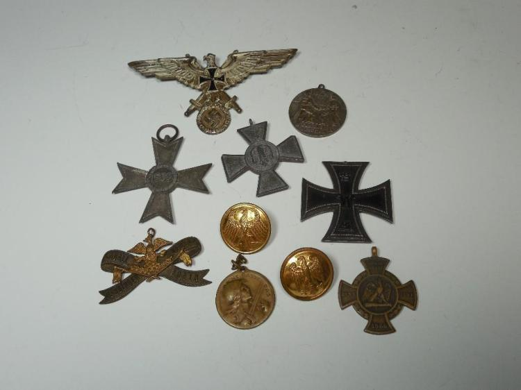 10 German Buttons, Medals, Pins Inc. Nazi