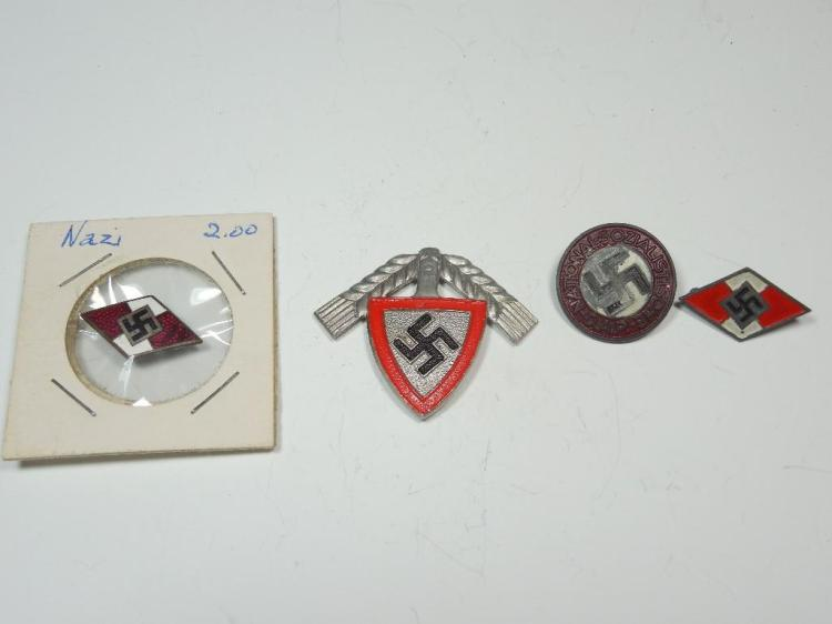 Group Lot of 4 Nazi German WWII Pins Inc. Party