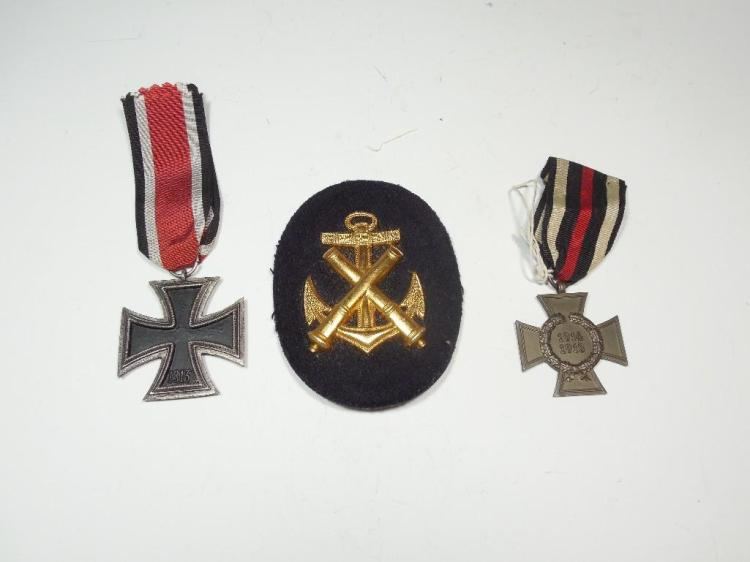 2 German Iron Cross Medals + Anchor Cannon badge