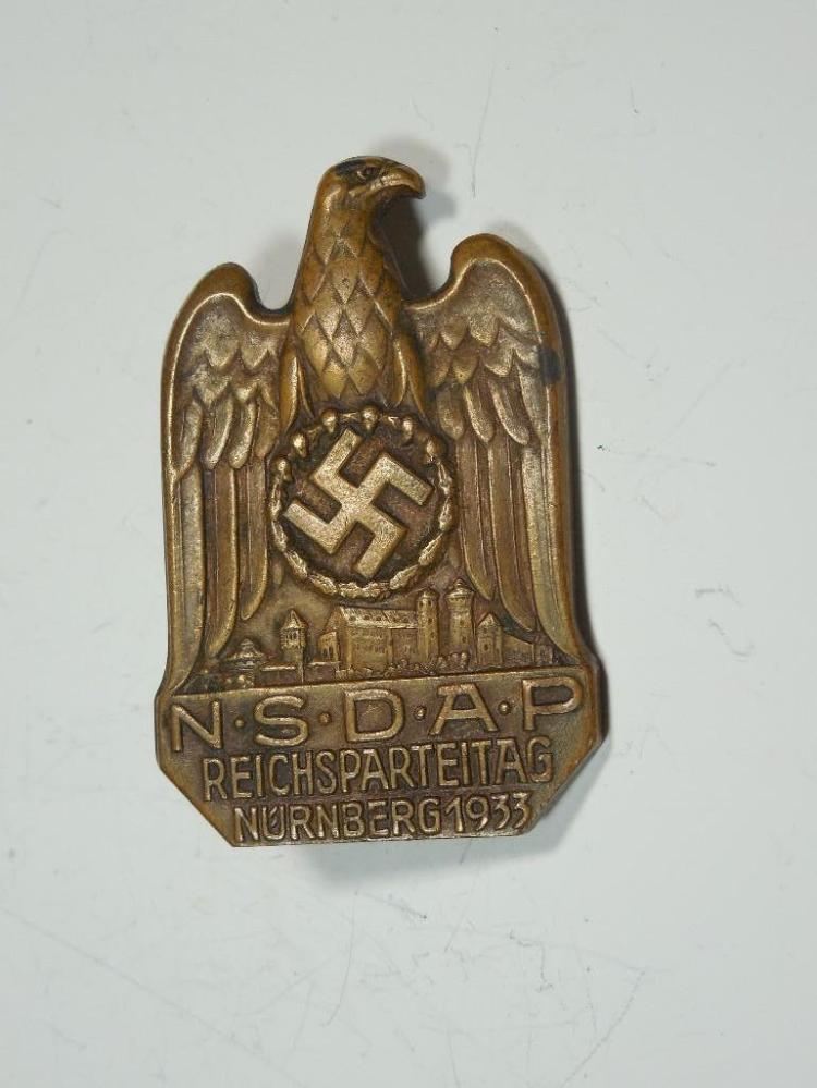 Heavy 1933 Nazi German Party Rally Badge w/eagle