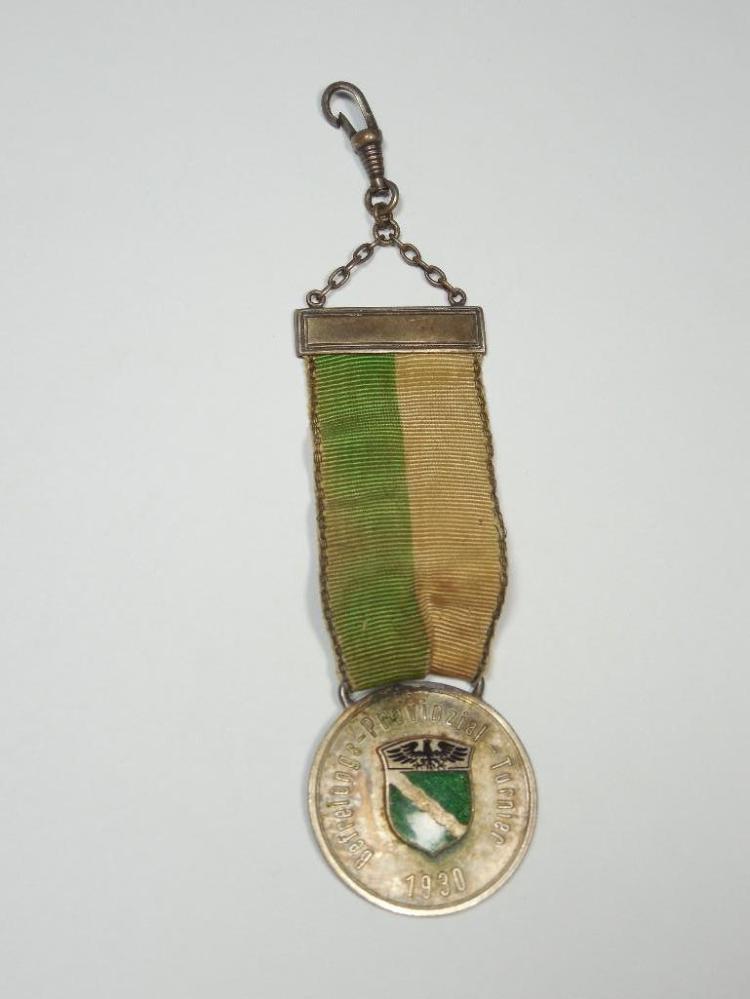 1930 German Enamel Sporting Medal on Ribbon
