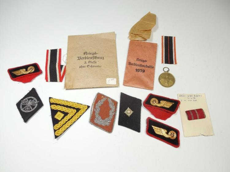 Group Lot Nazi German WWI Medals, Patches, Tabs