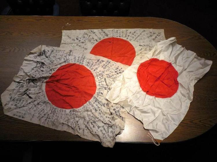 Group Lot 2 Japanese Prayer Flags, One Plain
