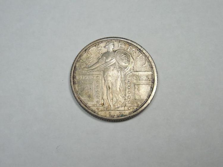 1917 Type I Standing Liberty Quarter Coin AU