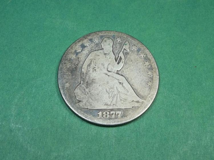 1877 Seated Liberty Half Dollar Silver Coin G/VF