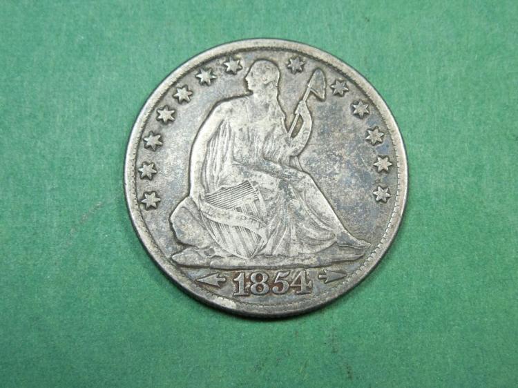 1854-O 1/2 $1 Seated Liberty Coin VF Arrows