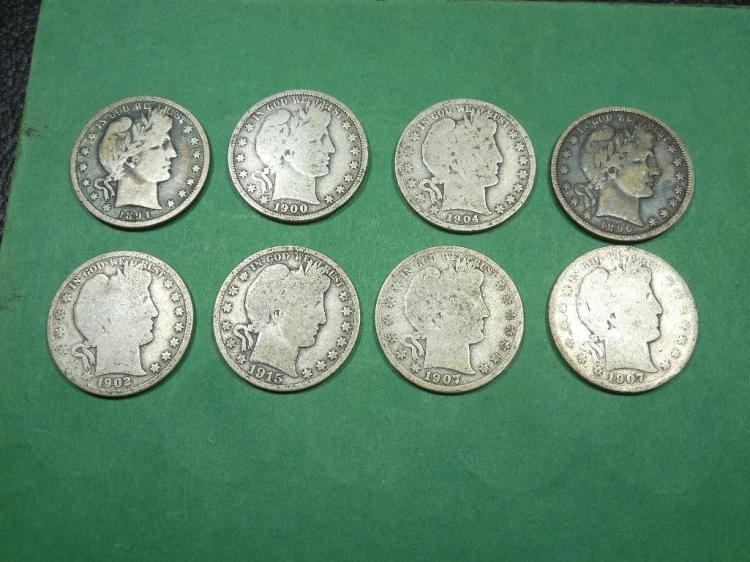 8 Barber Half Dollar Silver Coins Lot
